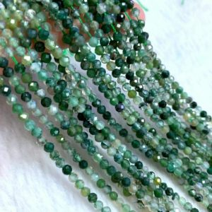 Shop Moss Agate Beads! Tiny Moss Agate Beads Micro Faceted 2mm 3mm, Natural Small Green Agate Gemstone Spacer Beads, Agate Beads For Bracelet Necklace Earring | Natural genuine beads Moss Agate beads for beading and jewelry making.  #jewelry #beads #beadedjewelry #diyjewelry #jewelrymaking #beadstore #beading #affiliate #ad