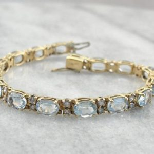 Shop Topaz Bracelets! Vintage Glittering Blue Topaz Bracelet -6QU77U | Natural genuine Topaz bracelets. Buy crystal jewelry, handmade handcrafted artisan jewelry for women.  Unique handmade gift ideas. #jewelry #beadedbracelets #beadedjewelry #gift #shopping #handmadejewelry #fashion #style #product #bracelets #affiliate #ad