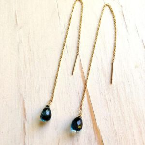 London Blue Topaz Tiny Tear Drop Chain Earrings | Natural genuine Topaz earrings. Buy crystal jewelry, handmade handcrafted artisan jewelry for women.  Unique handmade gift ideas. #jewelry #beadedearrings #beadedjewelry #gift #shopping #handmadejewelry #fashion #style #product #earrings #affiliate #ad