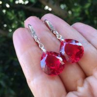 Red Topaz Stone Earrings. Sterling Silver Pave Earrings. Leverbacks Dangles. Gift For Mother | Natural genuine Gemstone jewelry. Buy crystal jewelry, handmade handcrafted artisan jewelry for women.  Unique handmade gift ideas. #jewelry #beadedjewelry #beadedjewelry #gift #shopping #handmadejewelry #fashion #style #product #jewelry #affiliate #ad