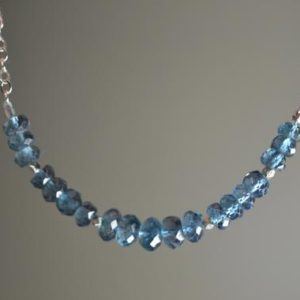 Shop Topaz Necklaces! London Blue Topaz Necklace in Sterling Silver // December Birthstone // 4th Anniversary // | Natural genuine Topaz necklaces. Buy crystal jewelry, handmade handcrafted artisan jewelry for women.  Unique handmade gift ideas. #jewelry #beadednecklaces #beadedjewelry #gift #shopping #handmadejewelry #fashion #style #product #necklaces #affiliate #ad