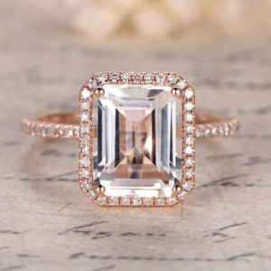 8x10mm Emerald Cut WHITE Topaz Engagement Ring, 14K Rose Gold Diamonds Halo Ring, Topaz Ring,Ball Prongs, Blue Topaz,Emerald Available | Natural genuine Gemstone rings, simple unique alternative gemstone engagement rings. #rings #jewelry #bridal #wedding #jewelryaccessories #engagementrings #weddingideas #affiliate #ad