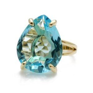 Shop Topaz Rings! Gold Teardrop Ring · Blue Topaz Ring · Pear Ring · Gold Filled Ring · Yellow Gold Blue Topaz Ring · Cocktail Ring · Statement Ring | Natural genuine Topaz rings, simple unique handcrafted gemstone rings. #rings #jewelry #shopping #gift #handmade #fashion #style #affiliate #ad
