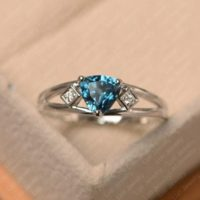 London Blue Topaz Ring, Trillion Cut, Sterling Silver, anniversary Ring | Natural genuine Gemstone jewelry. Buy crystal jewelry, handmade handcrafted artisan jewelry for women.  Unique handmade gift ideas. #jewelry #beadedjewelry #beadedjewelry #gift #shopping #handmadejewelry #fashion #style #product #jewelry #affiliate #ad