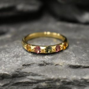 Shop Tourmaline Rings! Gold Tourmaline Band, Natural Tourmaline, Stackable Ring, Half Eternity Ring, Dainty Band, October Birthstone, Colorful Ring, Silver Ring | Natural genuine Tourmaline rings, simple unique handcrafted gemstone rings. #rings #jewelry #shopping #gift #handmade #fashion #style #affiliate #ad