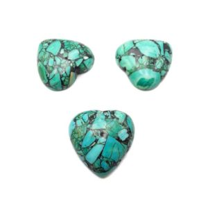 Shop Turquoise Stones & Crystals! Blue Green Composite Turquoise Heart Shape Cabochon Size 25mm Sold by 4 PCS Set   Natural genuine stones & crystals in various shapes & sizes. Buy raw cut, tumbled, or polished gemstones for making jewelry or crystal healing energy vibration raising reiki stones. #crystals #gemstones #crystalhealing #crystalsandgemstones #energyhealing #affiliate #ad