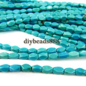 Shop Turquoise Chip & Nugget Beads! Turquoise,15 inch full strand blue Turquoise faceted nugget beads,Irregular beads,gemstone beads 4x7mm | Natural genuine chip Turquoise beads for beading and jewelry making.  #jewelry #beads #beadedjewelry #diyjewelry #jewelrymaking #beadstore #beading #affiliate #ad