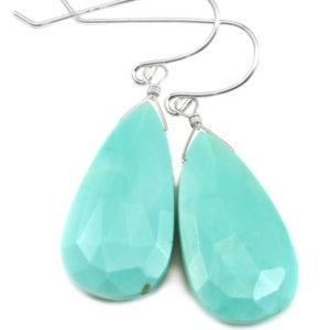 Shop Turquoise Earrings! Turquoise Earrings Sterling Silver Faceted Cut Long Teardrop Natural Stone Light Soft blue large earthy contemporary cut simple drops | Natural genuine Turquoise earrings. Buy crystal jewelry, handmade handcrafted artisan jewelry for women.  Unique handmade gift ideas. #jewelry #beadedearrings #beadedjewelry #gift #shopping #handmadejewelry #fashion #style #product #earrings #affiliate #ad