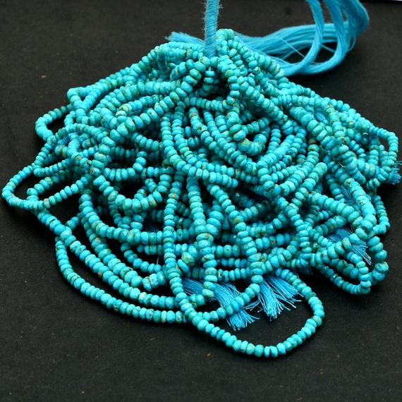 """Genuine Turquoise 3mm To 5mm Rondelle Faceted Beads
