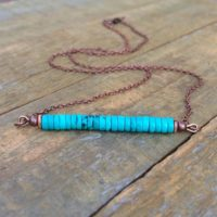 Turquoise Necklace, Bar Necklace, Bohemian Jewelry, Copper Jewelry, Turquoise Jewelry, Turquoise Bar Necklace, | Natural genuine Gemstone jewelry. Buy crystal jewelry, handmade handcrafted artisan jewelry for women.  Unique handmade gift ideas. #jewelry #beadedjewelry #beadedjewelry #gift #shopping #handmadejewelry #fashion #style #product #jewelry #affiliate #ad