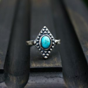 Shop Turquoise Rings! Bahman Sterling Silver Ring, Turquoise Ring, Boho Ring, Adjustable Ring | Natural genuine Turquoise rings, simple unique handcrafted gemstone rings. #rings #jewelry #shopping #gift #handmade #fashion #style #affiliate #ad