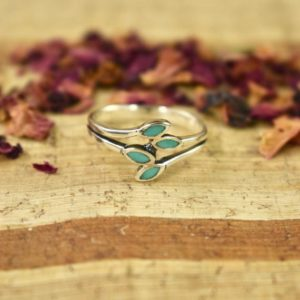 Shop Turquoise Rings! Turquoise Leaf Ring // Turquoise Jewelry // Stackable Rings // Sterling Silver // Village Silversmith | Natural genuine Turquoise rings, simple unique handcrafted gemstone rings. #rings #jewelry #shopping #gift #handmade #fashion #style #affiliate #ad