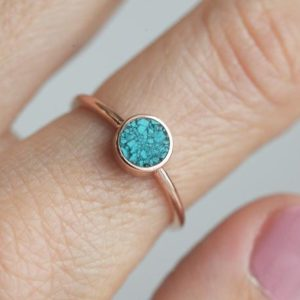 Shop Turquoise Rings! Round Turquoise ring, Turquoise Engagement Ring, Simple Turquoise ring, Solitaire turquoise Ring, Rose Gold Ring, Rose gold band | Natural genuine Turquoise rings, simple unique alternative gemstone engagement rings. #rings #jewelry #bridal #wedding #jewelryaccessories #engagementrings #weddingideas #affiliate #ad