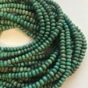 "Shop Turquoise Rondelle Beads! 100% natural Turquoise 5x3mm rondelle Gemstone Beads -15.5""–1 strand/3 strands 
