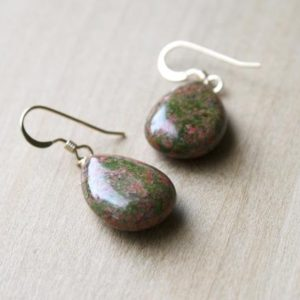 Shop Unakite Earrings! Natural Stone Earrings Dangle . Unakite Earrings . Green Gemstone Earrings Gold | Natural genuine Unakite earrings. Buy crystal jewelry, handmade handcrafted artisan jewelry for women.  Unique handmade gift ideas. #jewelry #beadedearrings #beadedjewelry #gift #shopping #handmadejewelry #fashion #style #product #earrings #affiliate #ad