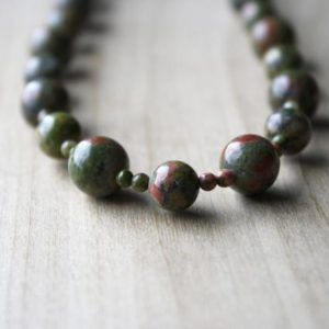 Shop Unakite Necklaces! Unakite Bead Necklace for Men and Women . Healing Gemstone Necklace . Heart Chakra Necklace Beaded | Natural genuine Unakite necklaces. Buy handcrafted artisan men's jewelry, gifts for men.  Unique handmade mens fashion accessories. #jewelry #beadednecklaces #beadedjewelry #shopping #gift #handmadejewelry #necklaces #affiliate #ad
