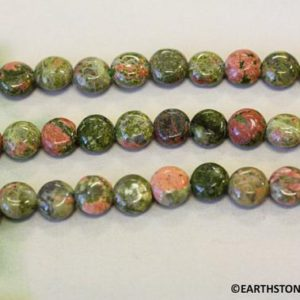 M/ Genuine Unakite 7-8mm Dime. 50 loose pcs per strand. Natural green and orange color stone small size loose coin beads. For Yoga Jewelry   Natural genuine other-shape Gemstone beads for beading and jewelry making.  #jewelry #beads #beadedjewelry #diyjewelry #jewelrymaking #beadstore #beading #affiliate #ad