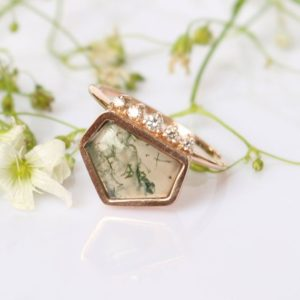 Shop Moss Agate Rings! Unique Statement Green Pentagon Agate Ring, Moss Agate Ring, Garden Agate Ring with Diamonds 14k Rose gold, Perfect Gift for Wife,Girlfriend   Natural genuine Moss Agate rings, simple unique handcrafted gemstone rings. #rings #jewelry #shopping #gift #handmade #fashion #style #affiliate #ad