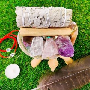 Shop Crystal Healing! White Sage Smudge Kit, Blue Sage, Cedar, Lavender, Palo Santo, Abalone Shell, Amethyst, for Cleansing, Energy Clearing, Spiritual Cleansing | Shop jewelry making and beading supplies, tools & findings for DIY jewelry making and crafts. #jewelrymaking #diyjewelry #jewelrycrafts #jewelrysupplies #beading #affiliate #ad
