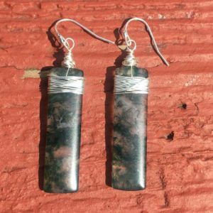 Shop Moss Agate Earrings! Wire wrapped moss agate earrings, wire wrapped earrings, moss agate earrings, gemstone dangle earrings, moss agate jewelry, sterling silver | Natural genuine Moss Agate earrings. Buy crystal jewelry, handmade handcrafted artisan jewelry for women.  Unique handmade gift ideas. #jewelry #beadedearrings #beadedjewelry #gift #shopping #handmadejewelry #fashion #style #product #earrings #affiliate #ad