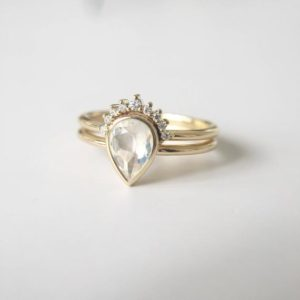 1.2 Carat Blue Moonstone Engagement Ring Set Moonstone Ring Set Moonstone Pear Clear Stone Ring White Stone Ring Yellow Gold Ring Set | Natural genuine Array jewelry. Buy handcrafted artisan wedding jewelry.  Unique handmade bridal jewelry gift ideas. #jewelry #beadedjewelry #gift #crystaljewelry #shopping #handmadejewelry #wedding #bridal #jewelry #affiliate #ad