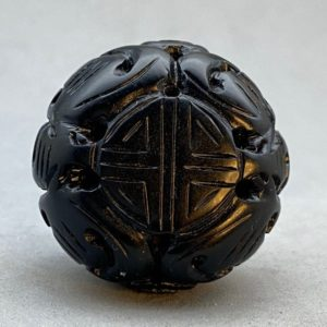 1 vintage jet bead: hand carved black jet bead of longevity and dragon, represents prosperity and long life, vintage jet bead, black jet | Natural genuine other-shape Gemstone beads for beading and jewelry making.  #jewelry #beads #beadedjewelry #diyjewelry #jewelrymaking #beadstore #beading #affiliate #ad