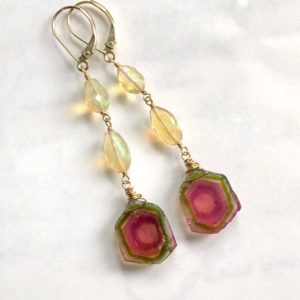 Shop Watermelon Tourmaline Earrings! 14K Rare Watermelon Tourmaline Earrings with Opals, Long Statement earrings, October Birthstone earrings, One of a Kind, 14K Solid Gold | Natural genuine Watermelon Tourmaline earrings. Buy crystal jewelry, handmade handcrafted artisan jewelry for women.  Unique handmade gift ideas. #jewelry #beadedearrings #beadedjewelry #gift #shopping #handmadejewelry #fashion #style #product #earrings #affiliate #ad