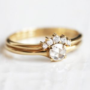 18k Gold Diamond Ring Set, Rose Cut White Diamond solitaire With Curved Diamond Band, Round Diamond Engagement Set | Natural genuine Gemstone rings, simple unique alternative gemstone engagement rings. #rings #jewelry #bridal #wedding #jewelryaccessories #engagementrings #weddingideas #affiliate #ad
