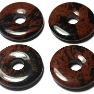 1pc – semi precious stone pendant – Obsidian Mahogany Donut 25mm – 7427039728959 | Natural genuine beads Gemstone beads for beading and jewelry making.  #jewelry #beads #beadedjewelry #diyjewelry #jewelrymaking #beadstore #beading #affiliate #ad