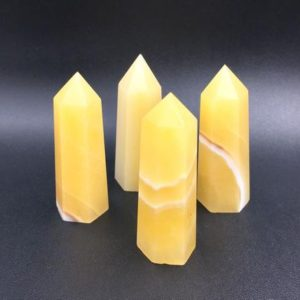 "2.75"" Yellow Jade Tower Jade Point Yellow Jade Stone Crystal Tower Wand Obelisk Standing Point Meditation Healing Reiki Grids 