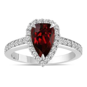 2 Carat Pear Shaped Garnet Engagement Ring, Garnet and Diamonds Wedding Ring, Garnet Bridal Ring, 14k White Gold Unique Handmade Certified | Natural genuine Array rings, simple unique alternative gemstone engagement rings. #rings #jewelry #bridal #wedding #jewelryaccessories #engagementrings #weddingideas #affiliate #ad