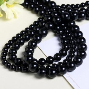 Shop Jet Beads! 4-12mm Natural Black Jet Lignite Smooth Round Beads Genuine Petrified Coal Loose Beads 4mm 6mm 8mm 10mm 12mm Full Strand DIY Jewelry Making   Natural genuine round Jet beads for beading and jewelry making.  #jewelry #beads #beadedjewelry #diyjewelry #jewelrymaking #beadstore #beading #affiliate #ad