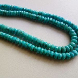 4-5mm Sleeping Beauty Turquoise Faceted Rondelle Beads, Natural Sleeping Beauty Turquoise Beads For Jewelry (7.5IN To 15IN Options) -PAG12 | Natural genuine beads Array beads for beading and jewelry making.  #jewelry #beads #beadedjewelry #diyjewelry #jewelrymaking #beadstore #beading #affiliate #ad