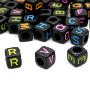 Shop Beads With Large Holes! 6 Mm (0.24 Inch) Acrylic Cube Alphabet Beads, A To Z Letter Beads With Large Hole – Plastic Abc Beads – Black With Colourful Letters | Shop jewelry making and beading supplies, tools & findings for DIY jewelry making and crafts. #jewelrymaking #diyjewelry #jewelrycrafts #jewelrysupplies #beading #affiliate #ad