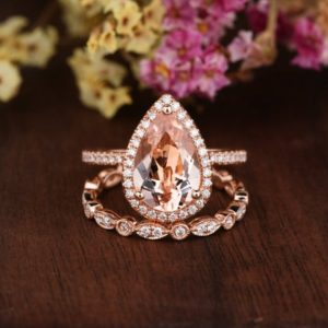 8x12mm Morgantie Ring Set Pear Shaped Morganite Engagement Ring Rose Gold Art Deco FULL Eternity Ring Woman Personalized Diamond Halo 2pcs | Natural genuine Array rings, simple unique alternative gemstone engagement rings. #rings #jewelry #bridal #wedding #jewelryaccessories #engagementrings #weddingideas #affiliate #ad