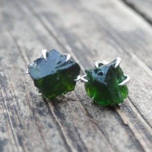 Shop Diopside Earrings! 925 – Raw Chrome Diopside Stud Earrings, Sterling Silver, Green Chrome Diopside Studs Earrings, Green Chrome Diopside, Bohemian jewelry | Natural genuine Diopside earrings. Buy crystal jewelry, handmade handcrafted artisan jewelry for women.  Unique handmade gift ideas. #jewelry #beadedearrings #beadedjewelry #gift #shopping #handmadejewelry #fashion #style #product #earrings #affiliate #ad