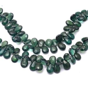 AAA+ Green Apatite 5x8mm-6x9mm Faceted Pear Briolettes | 6inch Strand | Rare Emerald Green Apatite Semi Precious Gemstone Loose Beads | Natural genuine other-shape Moldavite beads for beading and jewelry making.  #jewelry #beads #beadedjewelry #diyjewelry #jewelrymaking #beadstore #beading #affiliate #ad