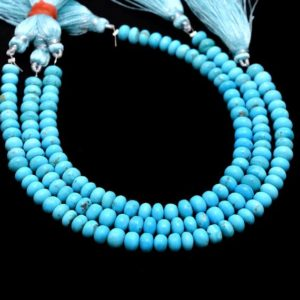 AAA+ Sleeping Beauty Turquoise Gemstone 6mm Smooth Rondelle Beads | 8inch Strand | Natural Blue Turquoise Precious Gemstone Loose Beads | Natural genuine beads Array beads for beading and jewelry making.  #jewelry #beads #beadedjewelry #diyjewelry #jewelrymaking #beadstore #beading #affiliate #ad