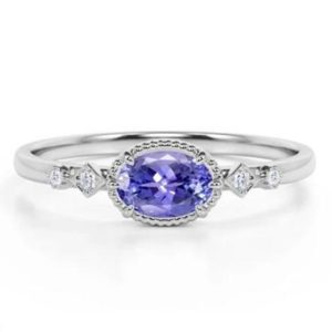 AAA Tanzanite Engagement Ring Set in Sterling Silver Platinum Overlay,Bridal Set Ring ,AAA Tanzanite Ring,Birthday Gift,Gift for Her | Natural genuine Array rings, simple unique alternative gemstone engagement rings. #rings #jewelry #bridal #wedding #jewelryaccessories #engagementrings #weddingideas #affiliate #ad
