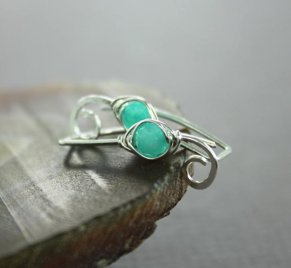 Mint Agate Sterling Silver Ear Climbers Earrings, Sterling Ear Cuffs, Ear Jacket Climbers, Ear Sweeps, Simple Ear Crawlers, Ec002