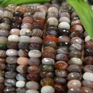 Shop Agate Faceted Beads! Botswana Agate 8x4mm 10x6mm 12x5mm 14x7mm Faceted Roundelle Gemsone Beads -15.5 inch strand | Natural genuine faceted Agate beads for beading and jewelry making.  #jewelry #beads #beadedjewelry #diyjewelry #jewelrymaking #beadstore #beading #affiliate #ad