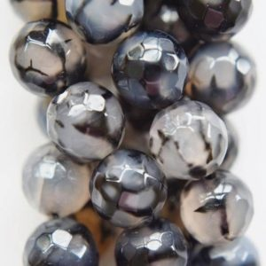 """Shop Agate Faceted Beads! Natural Faceted Black Dragon Veins Agate Beads – 10 mm Beads – Full Strand 15"""", 37 beads, A-Quality   Natural genuine faceted Agate beads for beading and jewelry making.  #jewelry #beads #beadedjewelry #diyjewelry #jewelrymaking #beadstore #beading #affiliate #ad"""