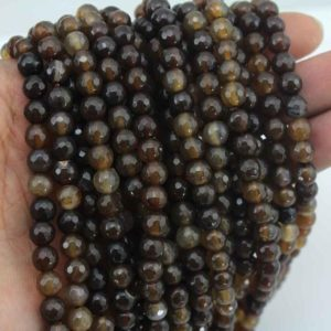 Shop Agate Necklaces! 6mm Natural Faceted  Brown Agate Beads,  Round agate beads,necklace beads,jewelry making beads–about 62 Pieces—15-16 inches–NF042 | Natural genuine Agate necklaces. Buy crystal jewelry, handmade handcrafted artisan jewelry for women.  Unique handmade gift ideas. #jewelry #beadednecklaces #beadedjewelry #gift #shopping #handmadejewelry #fashion #style #product #necklaces #affiliate #ad