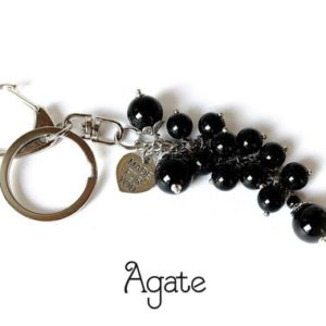 Shop Raw & Rough Agate Stones! Agate Keychain, Agate Bag Charm, Agate Purse Charm, Black Bag Charm, Gemstone Keychain, Gemstone Bag Charm, Cluster Keychain, Black Keyring | Natural genuine stones & crystals in various shapes & sizes. Buy raw cut, tumbled, or polished gemstones for making jewelry or crystal healing energy vibration raising reiki stones. #crystals #gemstones #crystalhealing #crystalsandgemstones #energyhealing #affiliate #ad