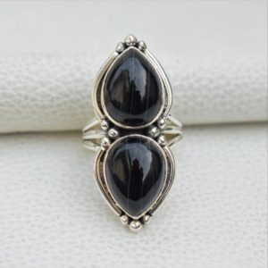Shop Agate Rings! Natural Black Banded Agate Ring-handmade Silver Ring-925 Sterling Silver Ring-teardrop Black Banded Agate Ring-gift For Her-multi Stone Ring | Natural genuine Agate rings, simple unique handcrafted gemstone rings. #rings #jewelry #shopping #gift #handmade #fashion #style #affiliate #ad