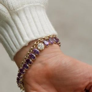 Shop Alexandrite Bracelets! Alexandrite and Diamond June Birthstone Oval Tennis Bracelet in Solid Gold | Natural genuine Alexandrite bracelets. Buy crystal jewelry, handmade handcrafted artisan jewelry for women.  Unique handmade gift ideas. #jewelry #beadedbracelets #beadedjewelry #gift #shopping #handmadejewelry #fashion #style #product #bracelets #affiliate #ad