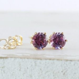 Shop Alexandrite Jewelry! Alexandrite Earrings Gold Stud Earrings Birthstone Stud Earrings June Birthstone Jewelry Alexandrite Stud Earrings Gemstone Stud Earrings | Natural genuine Alexandrite jewelry. Buy crystal jewelry, handmade handcrafted artisan jewelry for women.  Unique handmade gift ideas. #jewelry #beadedjewelry #beadedjewelry #gift #shopping #handmadejewelry #fashion #style #product #jewelry #affiliate #ad