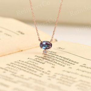 Shop Alexandrite Jewelry! Alexandrite engagement necklace rose gold | Oval cut prong set necklace vintage |Diamond/Moissanite pendant necklace|Birthstone necklace | Natural genuine Alexandrite jewelry. Buy handcrafted artisan wedding jewelry.  Unique handmade bridal jewelry gift ideas. #jewelry #beadedjewelry #gift #crystaljewelry #shopping #handmadejewelry #wedding #bridal #jewelry #affiliate #ad