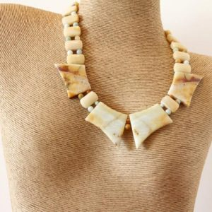 Amazonite and Aragonite Statement Necklace | Natural genuine Aragonite necklaces. Buy crystal jewelry, handmade handcrafted artisan jewelry for women.  Unique handmade gift ideas. #jewelry #beadednecklaces #beadedjewelry #gift #shopping #handmadejewelry #fashion #style #product #necklaces #affiliate #ad