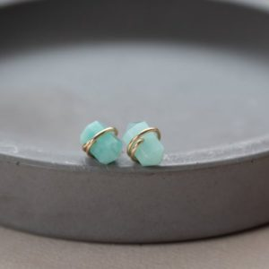 Shop Amazonite Earrings! Amazonite Stud Earrings, Genuine Green Amazonite Earrings, Small Stud Earrings, Mint Green Stone Stud Earrings, Wire wrapped studs | Natural genuine Amazonite earrings. Buy crystal jewelry, handmade handcrafted artisan jewelry for women.  Unique handmade gift ideas. #jewelry #beadedearrings #beadedjewelry #gift #shopping #handmadejewelry #fashion #style #product #earrings #affiliate #ad